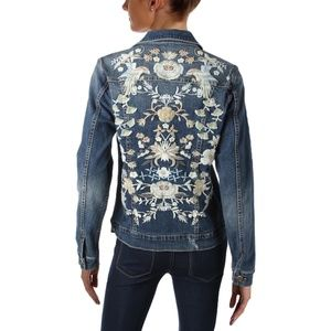 NWT $125 AQUA EMBROIDERED DENIM JACKET SIZE M